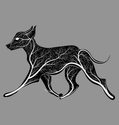 Silhouette of a running dog with a texture of a vector