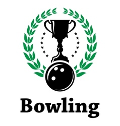 Sport bowling league label with laurel wreath vector image vector image