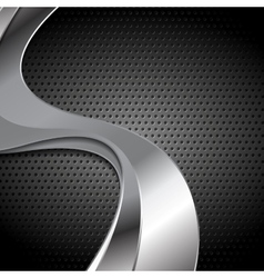 Abstract perforated metal texture with silver vector image vector image