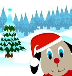 cartoon dog with noel cap vector image vector image