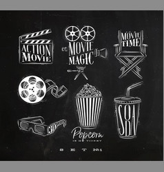 Cinema signs chalk vector