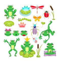 frogs cartoon green clip-art set vector image