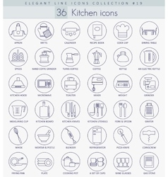 kitchen outline icon set Elegant thin line vector image vector image