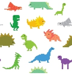 Pixel art dinos seamless pattern vector image