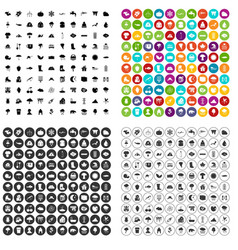 100 clouds icons set variant vector image