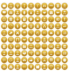 100 intelligent icons set gold vector