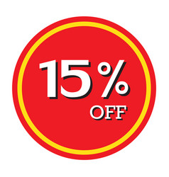 15 off discount price tag isolated vector image