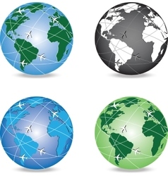 4 variants of globe with aircrafts around it vector