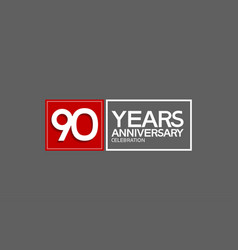 90 years anniversary in square with white and red vector