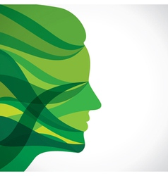 Abstract green women face vector