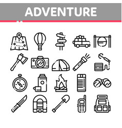 adventure collection elements icons set vector image