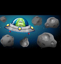 Alien in ship flying through asteroids vector