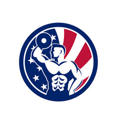 American fitness gym usa flag icon vector