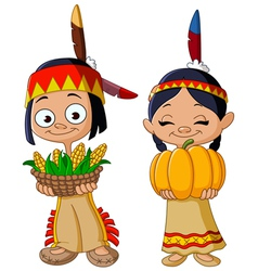 american indian children vector image