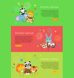 Animals carnival collection of face masks for vector