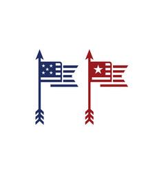 arrow flagpole national strip flag star vector image