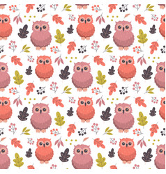 autumn pattern with owl vector image