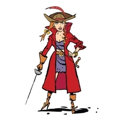 Beautiful young woman pirates vector image