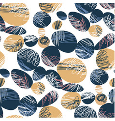 Black and beige ovals abstract seamless pattern vector