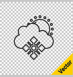 black line cloud with snow and sun icon isolated vector image