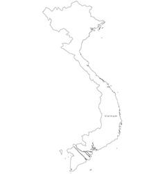 Black White Vietnam Outline Map vector