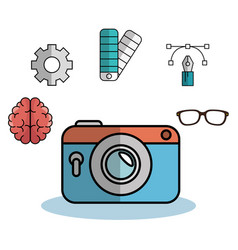 Camera and objects design vector