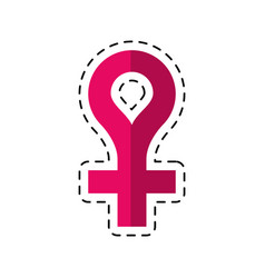 Cartoon female gender symbol icon vector