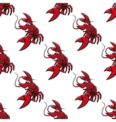 Cartoon red lobsters seamless pattern vector