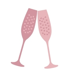 Champagne glass with heart-shaped bubbles vector image