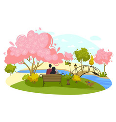 Character man and girl sit peaceful place lovely vector
