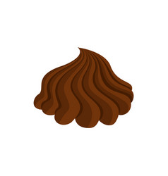 Chocolate cream whipped and swirl brown curl vector
