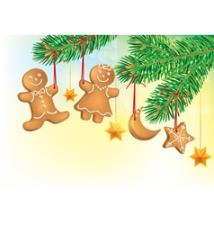 Christmas tree decorated with Christmas cookies vector
