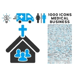 Church icon with 1000 medical business symbols vector