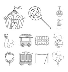 Circus and attributes outline icons in set vector