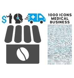 Coffee Shop Icon with 1000 Medical Business vector image
