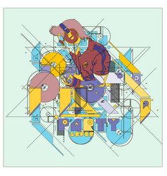 Colorful dj music performance vector