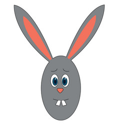 concered grey bunny on white background vector image