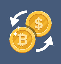 convert bitcoin currency crypto currency flat vector image