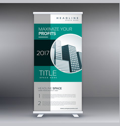 Corporate green modern standee roll up banner vector