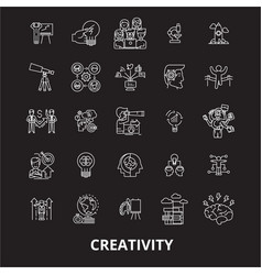creativity editable line icons set on black vector image