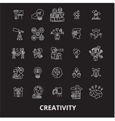 creativity editable line icons set on black vector image