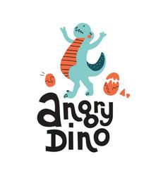 cute cartoon hand drawn dinosaur with vector image