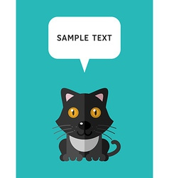 Cute Cat In Flat Design Style With Speach Bubble vector