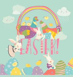 cute chick and bunny with easter eggs vector image
