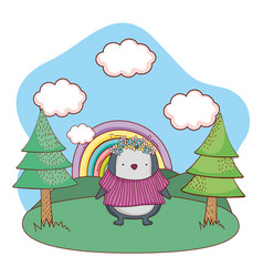 cute little penguin with shirt in the camp vector image