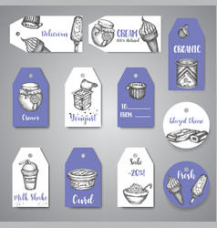 dairy sweet tags collection hand drawn vector image
