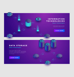 Data storage and information technology concept vector
