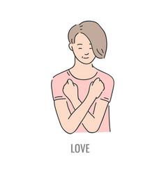 deaf mute sign language character gesture vector image