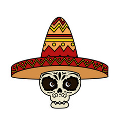 Death day mask with mariachi hat vector