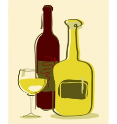 different wine bottles and gla vector image vector image